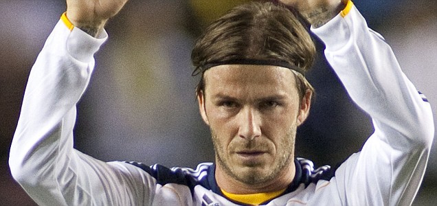 David Beckham of the Los Angeles Galaxy acknowledges the crowd