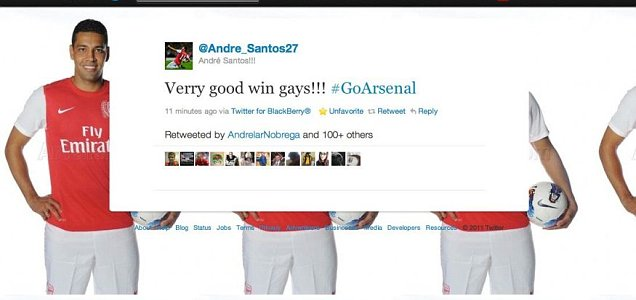 Andre Santos Arsenal good win gays Twitter message