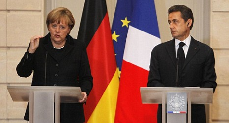 Angela Merkel and Nicolas Sarkozy eurozone