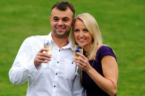 Gareth and Catherine Bull, from Mansfield in Nottinghamshire, celebrate