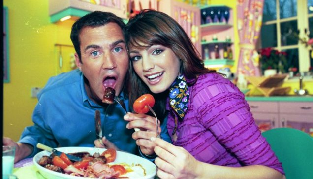 Johnny Vaughan and Kelly Brook during their presenting stint on The Big Breakfast.