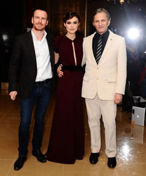 Keira Knightley, Michael Fassbender and Viggo Mortensen