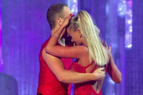 Jennifer Ellison clutches her head following the performance (Picture: ITV)