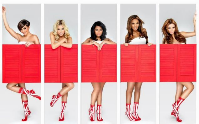 The Saturdays proudly show off their official Sport Relief 2012 socks 