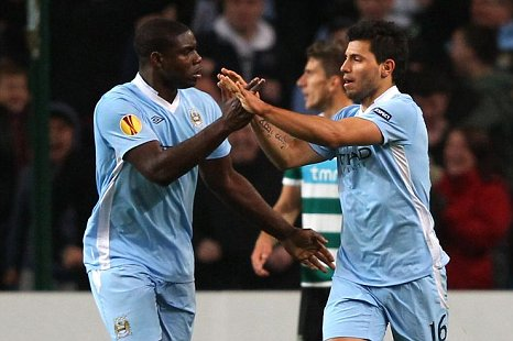 Sergio Aguero Micah Richards Man City v Sporting