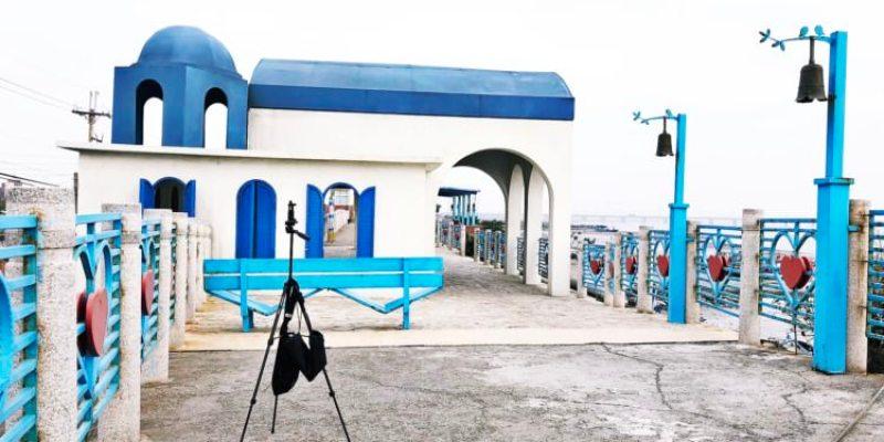 台中龍井景點 麗水驛站 美美的希臘風情觀景亭 遠望火力發電廠 麗水漁港