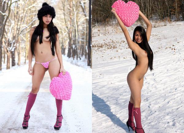 【ヌード画像】雪の上で素肌をさらす露出美女w(30枚) 10