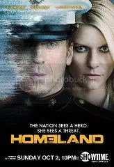 Poster for Homeland showing top body shots of Carrie standing behind Brody, who is wearing amilitary dress uniform. White text reads The nation see s a hero. She sees threat