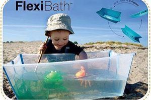 試用siliskin奶瓶保護套與多功能FlexiBath~外出洗澡玩砂玩水好方便。適合小浴室的夢幻嬰兒折疊式浴盆~