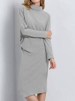 Grey Batwing Sleeve Designer High Neck Dress