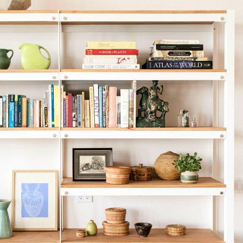 Amusing Se Spaces Sunset Magazine Living Room Shelves Designs Room Shelves Ideas Pared Down Simplicity Rules