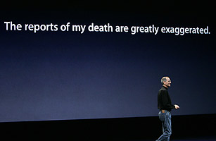 Apple CEO, Steve Jobs, at the 'Let's Rock' media conference in San Francisco