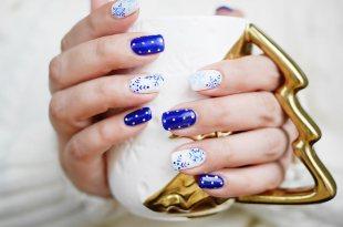 [指彩] [光療指甲] 藍色系指甲彩繪,冬季指彩,聖誕節與星空