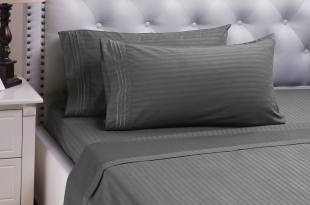 "Damask Stripe Sheet Set Grey Twin Size Hypoallergenic All Season Soft Brushed Microfiber ""Chelsea"" by Bedsure"