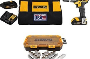 DEWALT DCD785C2 20V MAX Lithium Ion Compact 1.5 Ah Hammer Drill/Driver Kit with DWMT73804 Drive Socket Set (34 Piece), 1/4″ and 3/8″