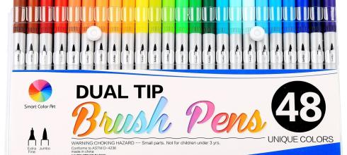 Smart Color Art Dual Tip Brush Pens (48 Unique Colors)