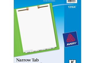 Avery Write-On Dividers for Classification File Folders, 5-Narrow Bottom Tabs per Set, 2-Hole Top Punched at the Top of Each Page (13164)