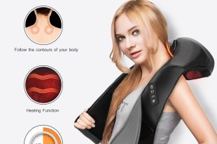 Pictek Shiatsu Neck and Back Massager with Heat Therapy [Speed Control, FDA Approved,8 Nodes] 3D Shiatsu Kneading Massage Pillow Shoulder Massager Perfect for Back, Neck, Shoulder, Foot Pain