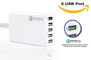 5 Port USB Charger – Mini Small Multiport Multi USB Power Supply Charger Charging Station – with Qualcomm Quick Charge 3.0 – Best USB Charger for Android iPhone iPad iMac Samsung Phones By ADIKA