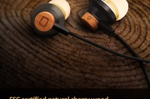 Omars Cherry Wood In-Ear Headphones Earbuds Wired Headset with High Definition Microphone for All Music 3.5mm Jack iPhone iPad Car Kit Huawei Nokia Mobile Phone Tablet iPod MP3