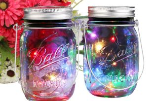 ERUW 2 Pack Solar Mason Jar Lights