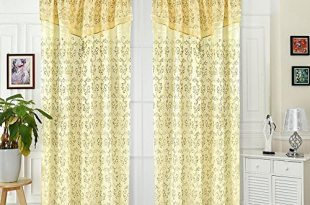 Window Curtains Jacquard Look with Attached Valance Decorative Satin by CHENYI ,W 54 x L84Inch, 1 Panel (Beige)
