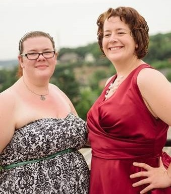 The author (left) and her sister at a friend's wedding in Minnesota. Photo courtesy of Eleni Pinnow