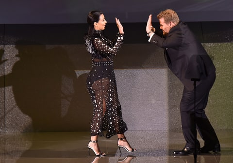 Kim Kardashian and Actor James Corden greet onstage at the 2015 CFDA Fashion Awards at Alice Tully Hall at Lincoln Center on June 1, 2015 in New York City