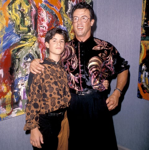 Sylvester Stallone and son Sage attend Sylvester Stallone's Paintings Opening Night Exhibition and Cocktail Reception to Benefit Yes on Proposition 128