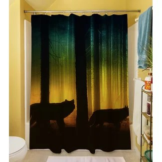 Tracking Wolves Shower Curtain from Wayfair!
