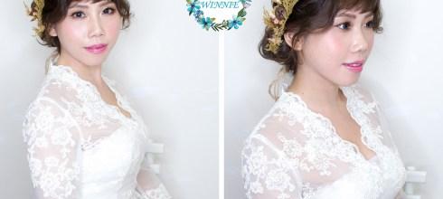 新娘造型│超人氣的花飾品盤髮造型
