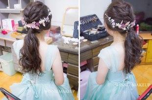 婚宴新娘造型│帶有日系編髮低馬尾造型