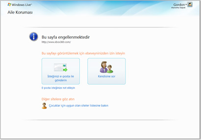 windows live family safety resim
