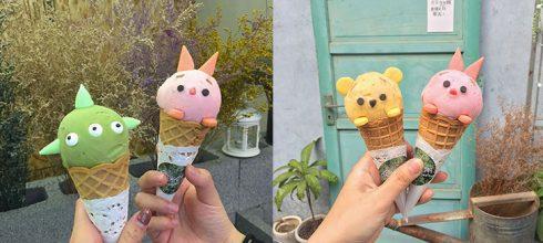 「激萌卡通甜筒在高雄!」大推佛心銅板價,一個人可以吃三支完全沒問題!自己就能獨享小熊維尼、三眼怪、粉紅小豬啦~