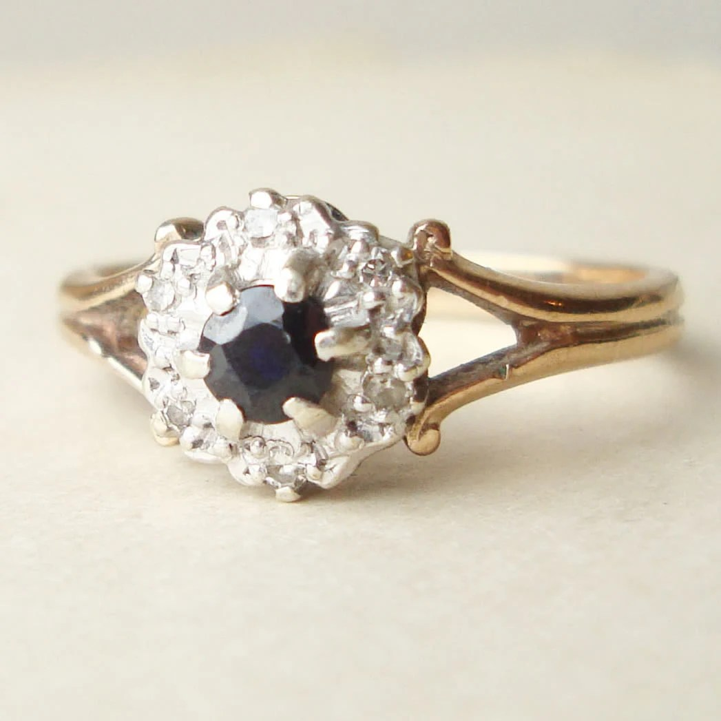 vintage sapphire engagement ring diamond vintage sapphire wedding bands zoom