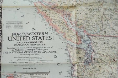 vintage 1950's map of northwestern united states and
