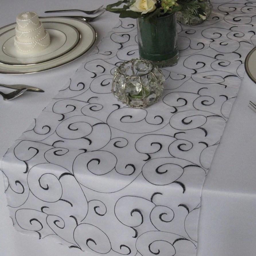 swirl embroidered organza wedding table wedding table runners Wedding Table Runner zoom