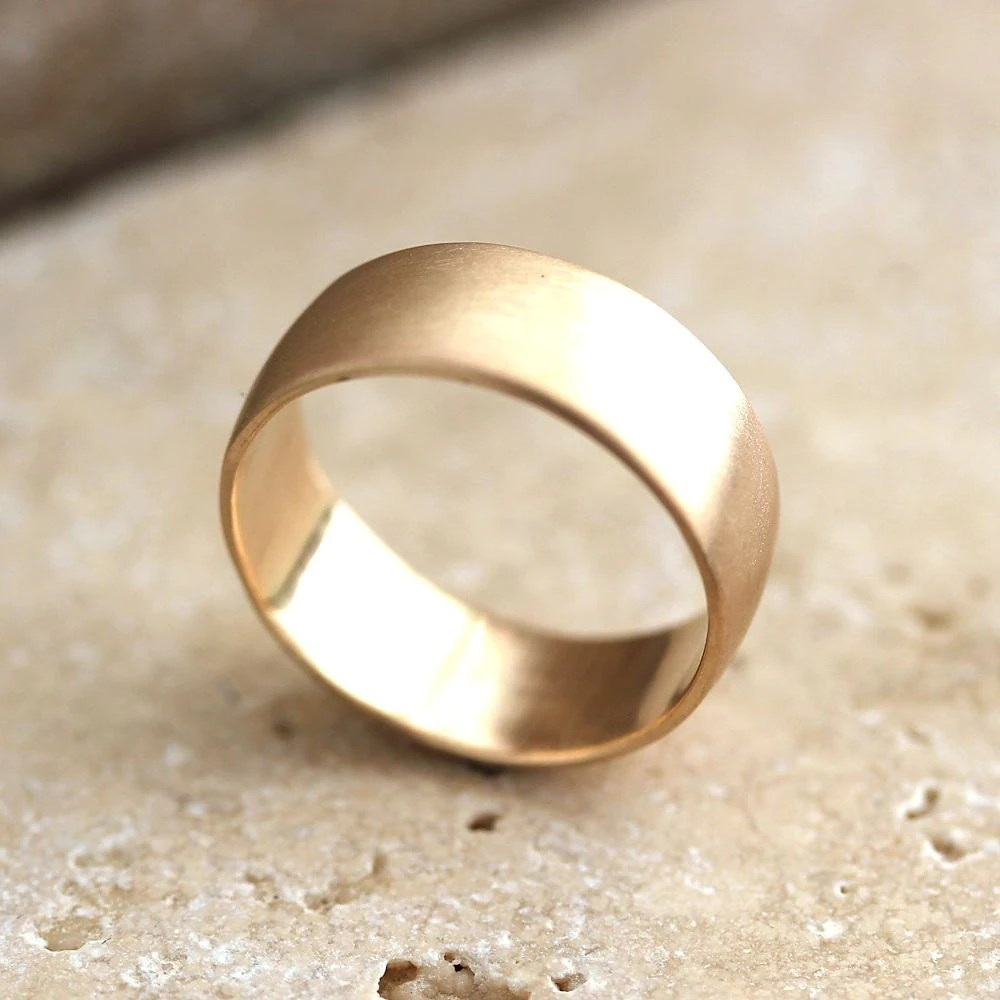 wide mens gold wedding ring 8mm low dome gold mens wedding bands Men s Wedding Band Recyled 10k Yellow Gold zoom
