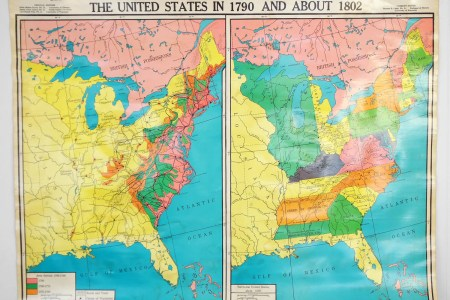 vintage united states history clroom wall map by