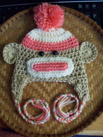 SALE - Adorable Sock Monkey Earflap Hat thats just cuter then a barrel full of monkeys you Choose Color
