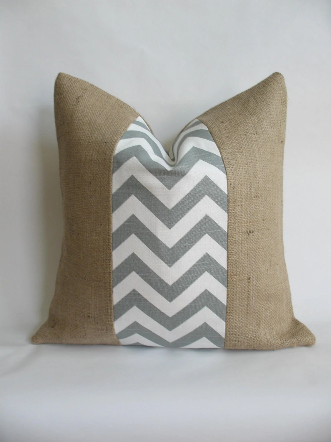 "18""x18"" Gray Chevron and Burlap Pillow Cover"