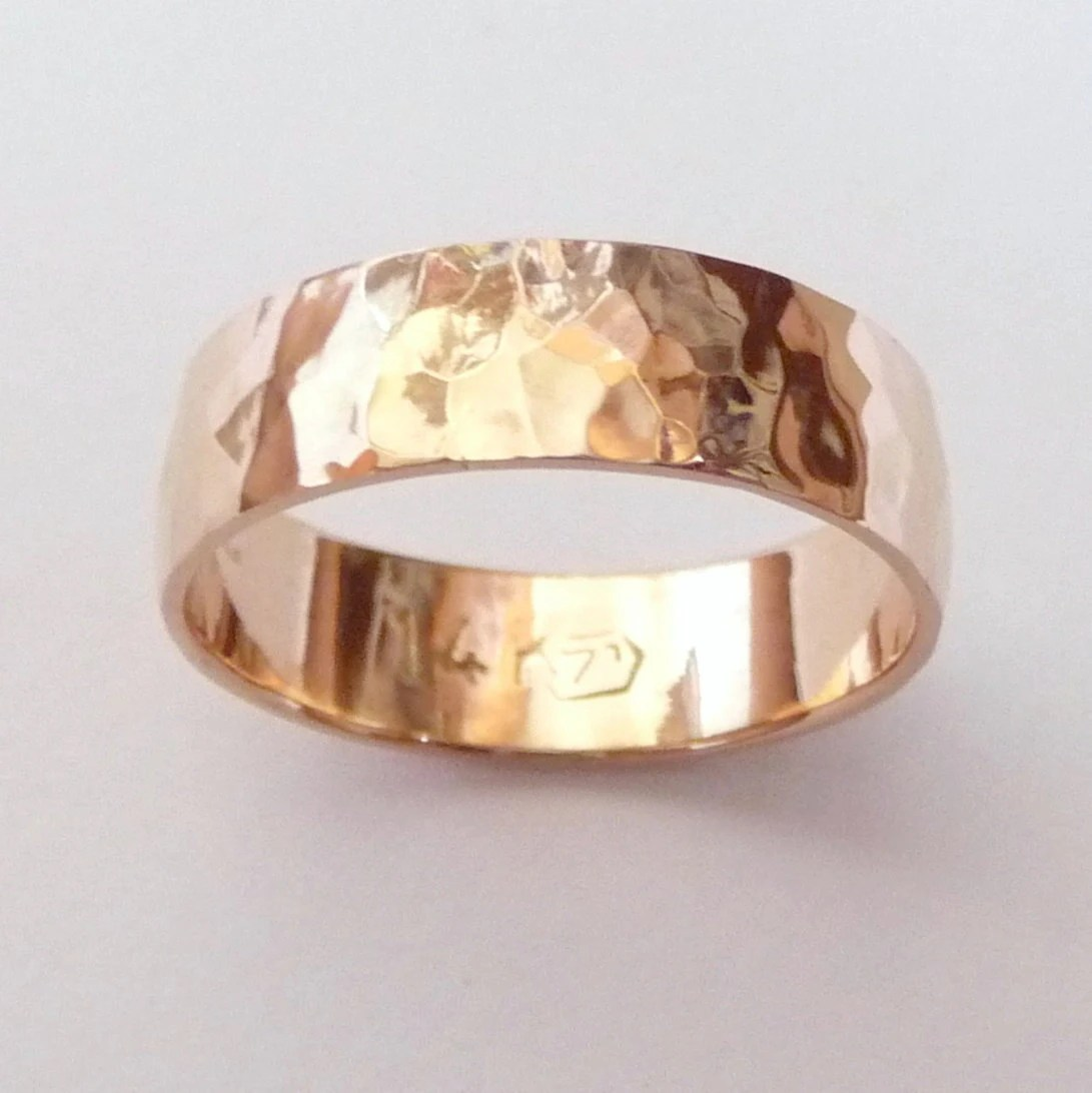 men rose gold wedding band hammered wedding bands men zoom