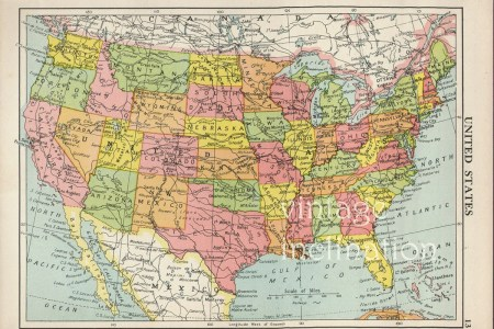 usa map 1950 vintage united states map. map by