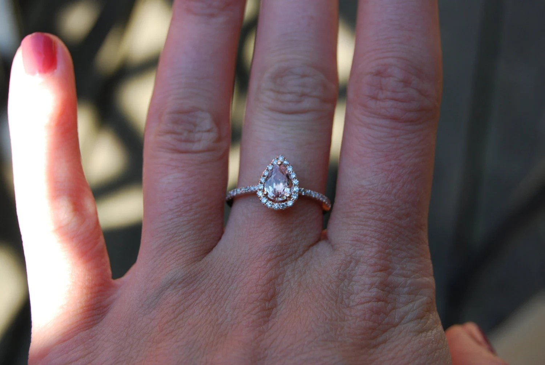 ct peach champagne tear drop sapphire tear drop wedding ring tear drop sapphire and rose gold diamond ring zoom