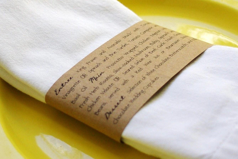 kraft napkin ring menus handmade custom napkins for wedding zoom