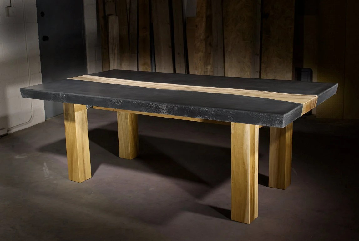 concrete table concrete kitchen table Concrete Table with Wood Inlay