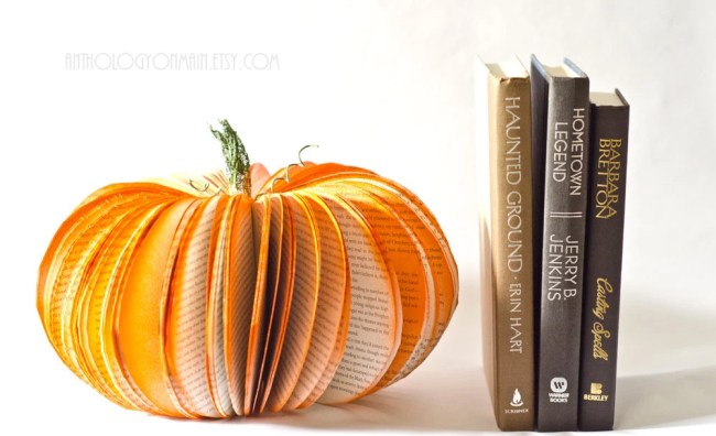 Large Book Page Pumpkin - Orange Halloween, Fall and Autumn Decor Upcycled from Old Books