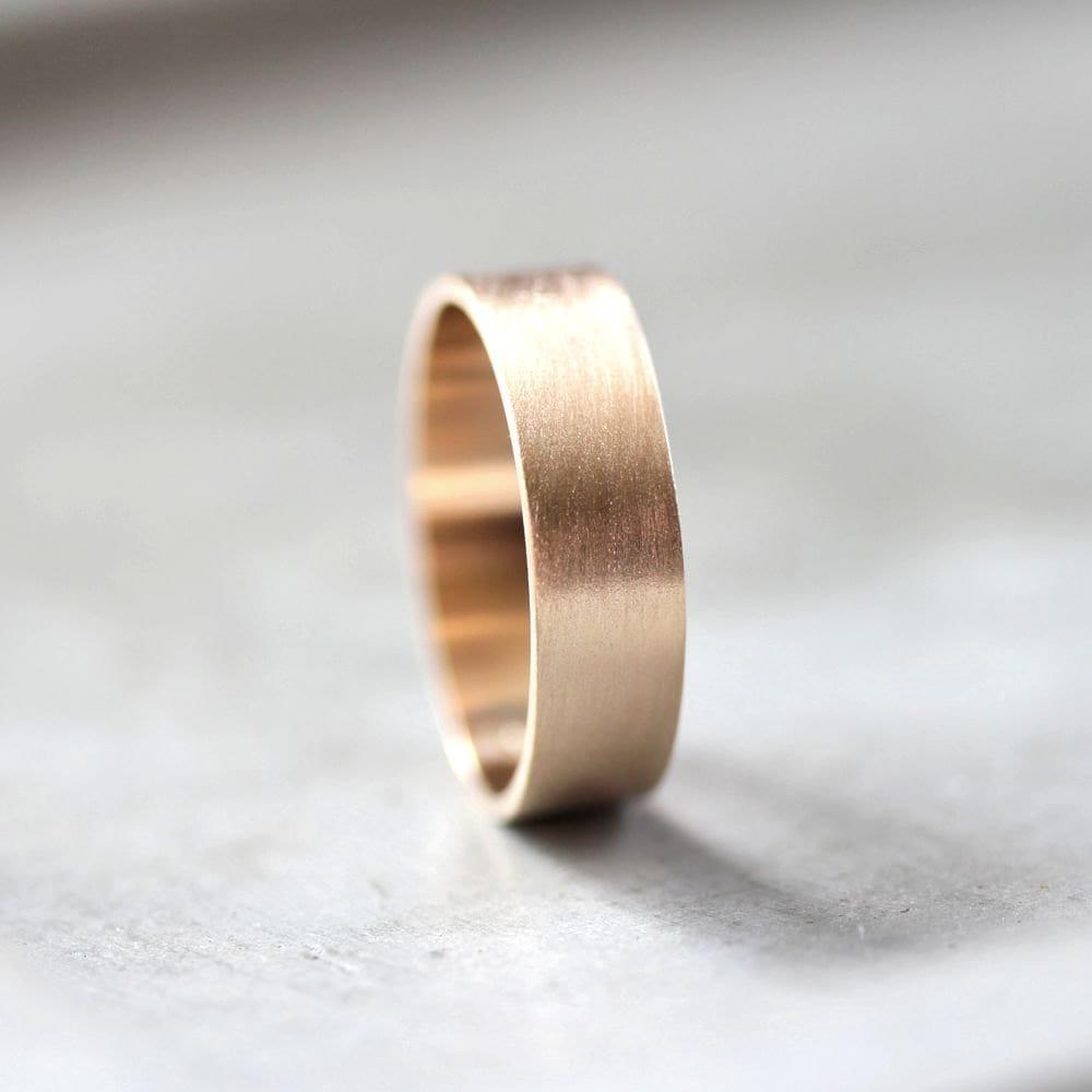 mens gold wedding band 6mm wide brushed gold mens wedding bands Gold Men s Wedding Ring zoom