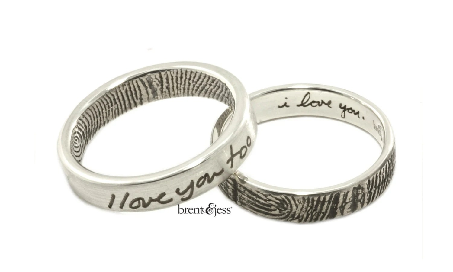 i love youi love you too set of two fingerprint wedding band fingerprint wedding zoom