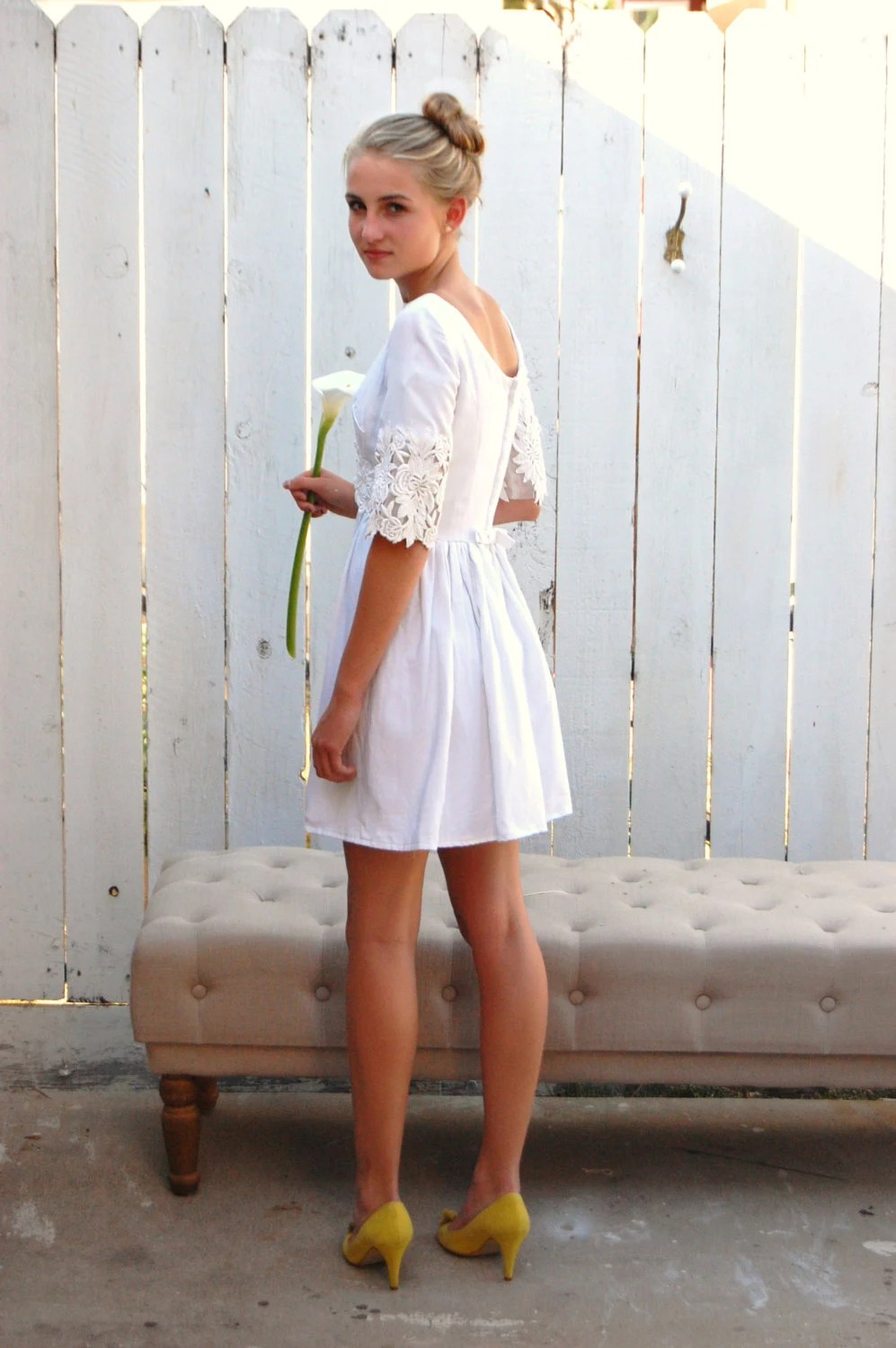 vintage 60s white linen and lace short linen wedding dress zoom